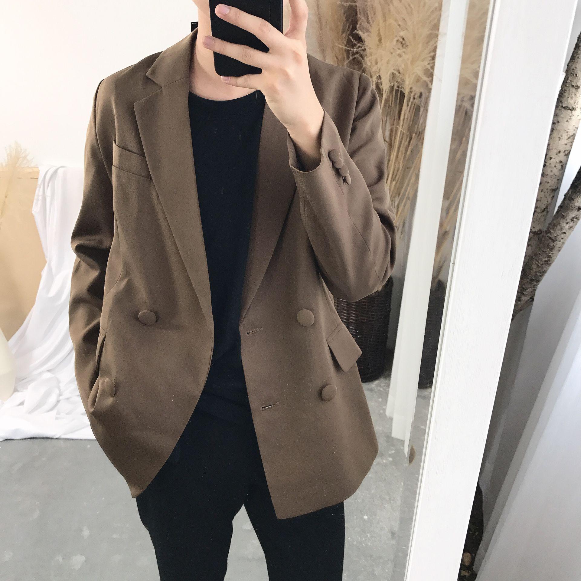 阿茶与阿古极简风修身棕色西服