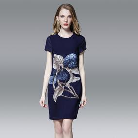 品牌折扣店女装专柜正品清仓剪标雪纺印花连衣裙2017新款韩版时尚