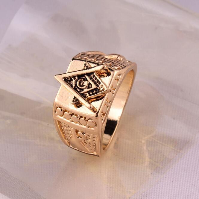 欧美嘻哈戒指共济会戒指 潮牌潮人必备高品质戒子 指环金色指环