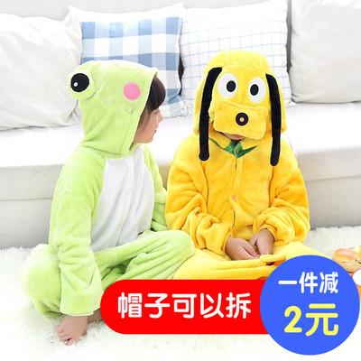 帽子可拆儿童法兰绒长袖家居服秋冬亲子青蛙黄狗卡通动物连体睡衣