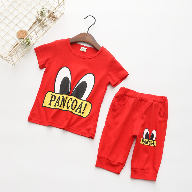 韓版男韓版潮兒童套裝女童童裝兩件套純棉七分褲短袖