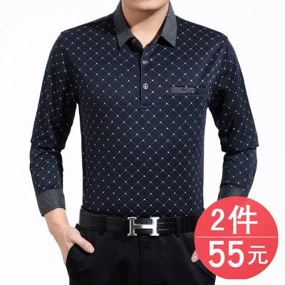 春秋新款中年男士长袖t恤中老年人纯棉翻领薄款体恤40-50岁爸爸装