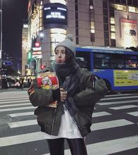 秋冬季休闲宽松bf风原宿加厚飞行员夹克女装韩版短款潮棒球服外套