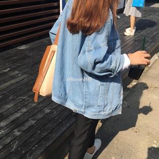 春秋韩版大码中长款原宿风BF宽松牛仔外套女学生长袖夹克上衣服潮