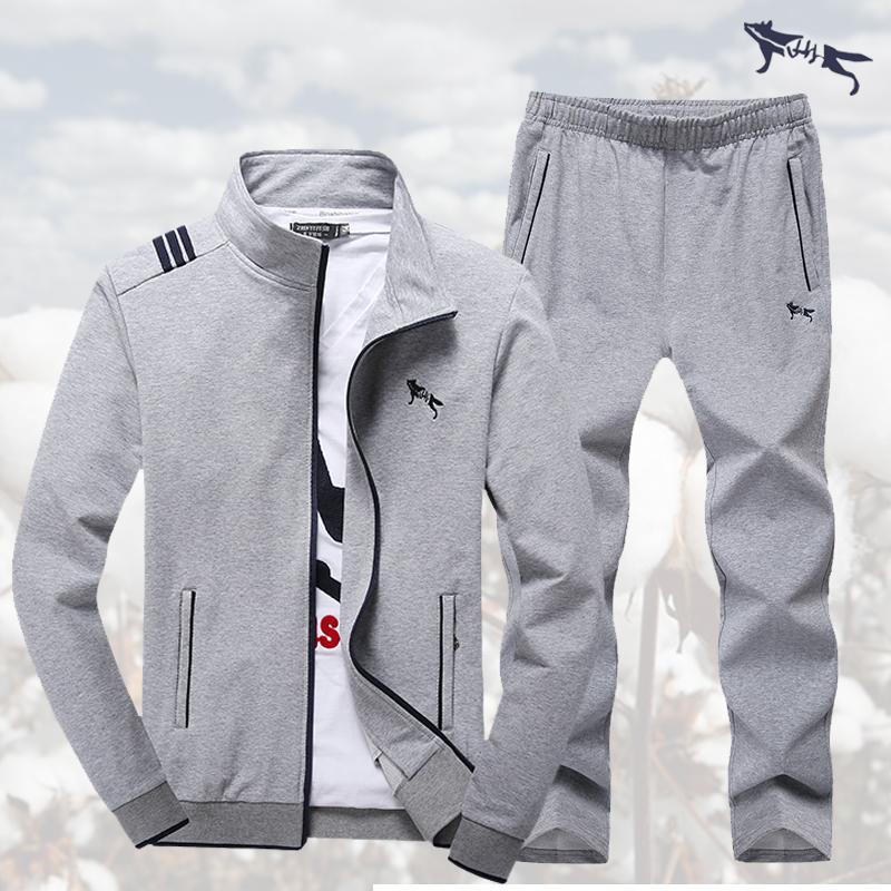 外套跑步健身纯棉男士运动套装春秋衣装两件套休闲长袖