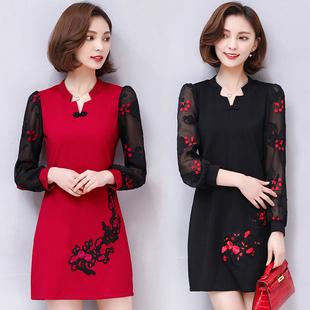 2017春秋新款韩版连衣裙女装中长款修身V领大码印花长袖打底裙子
