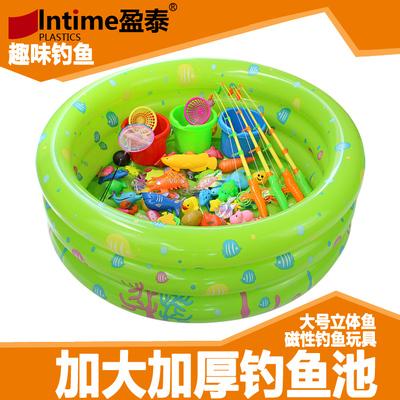 包邮 益智儿童戏水磁性钓鱼玩具套餐 公园家庭广场小猫磁铁钓鱼