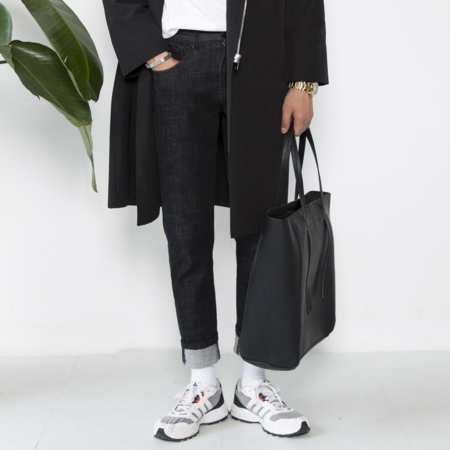 大赖自制 秋季新款青年直脚长裤黑色牛仔裤男士修身lee长裤小脚裤