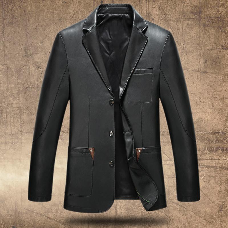 新款春秋真皮皮衣男中老年外套翻领皮西服男修身皮西装中年皮夹克