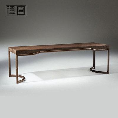 禅凰茶室家具现代中式长条茶桌全实木泡茶桌黑胡桃木仿古茶桌CH5