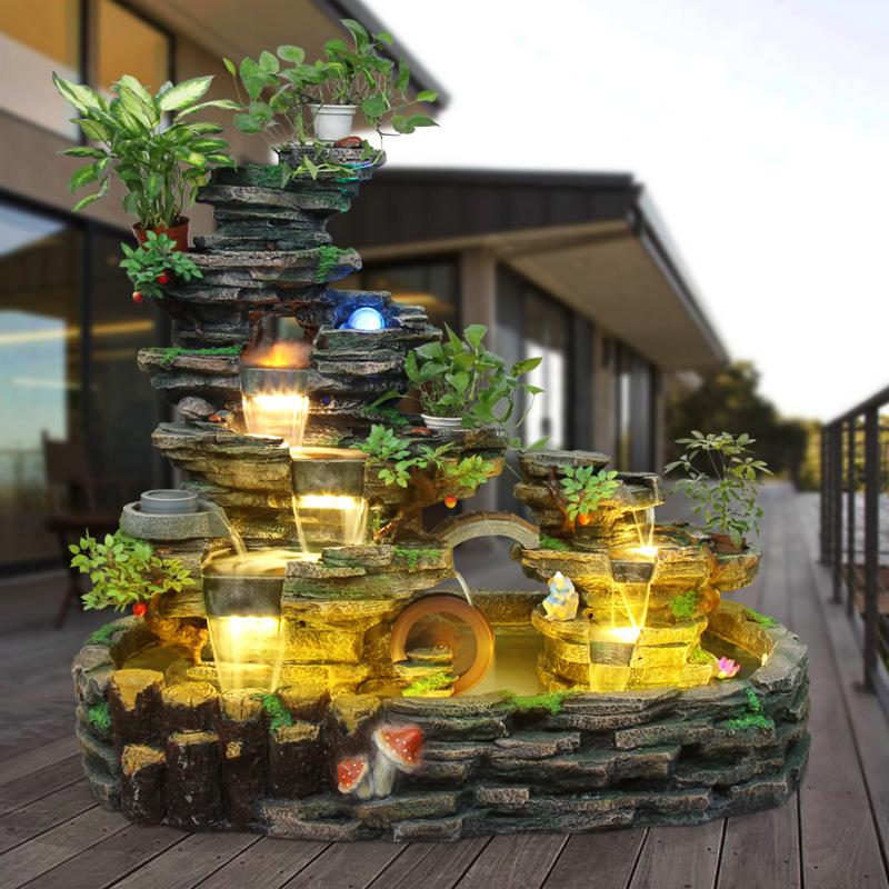 大型假山流水喷泉招财室内客厅山水景观户外庭院创意鱼池落地摆件图片