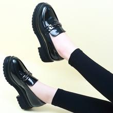 春秋季粗跟小皮鞋英伦风女鞋中跟黑色工作鞋厚底鞋松糕鞋漆皮单鞋