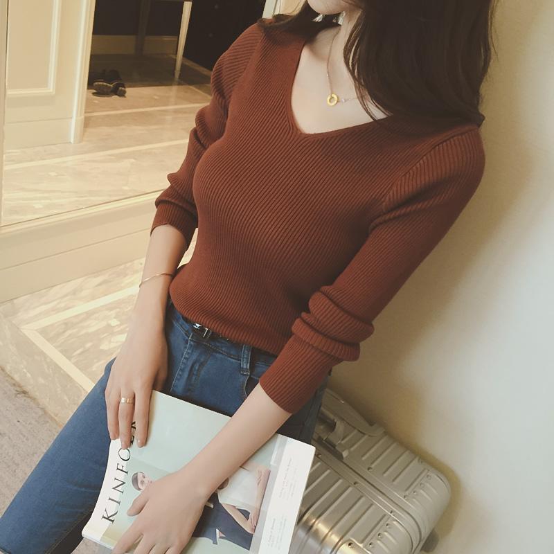 韩版新款V领紧身打底针织衫女 毛衣短款长袖套头修身秋冬新品上衣