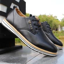 英伦风潮鞋 男式休闲鞋 子尖头系带黑色休闲皮鞋 秋冬季复古商务男鞋