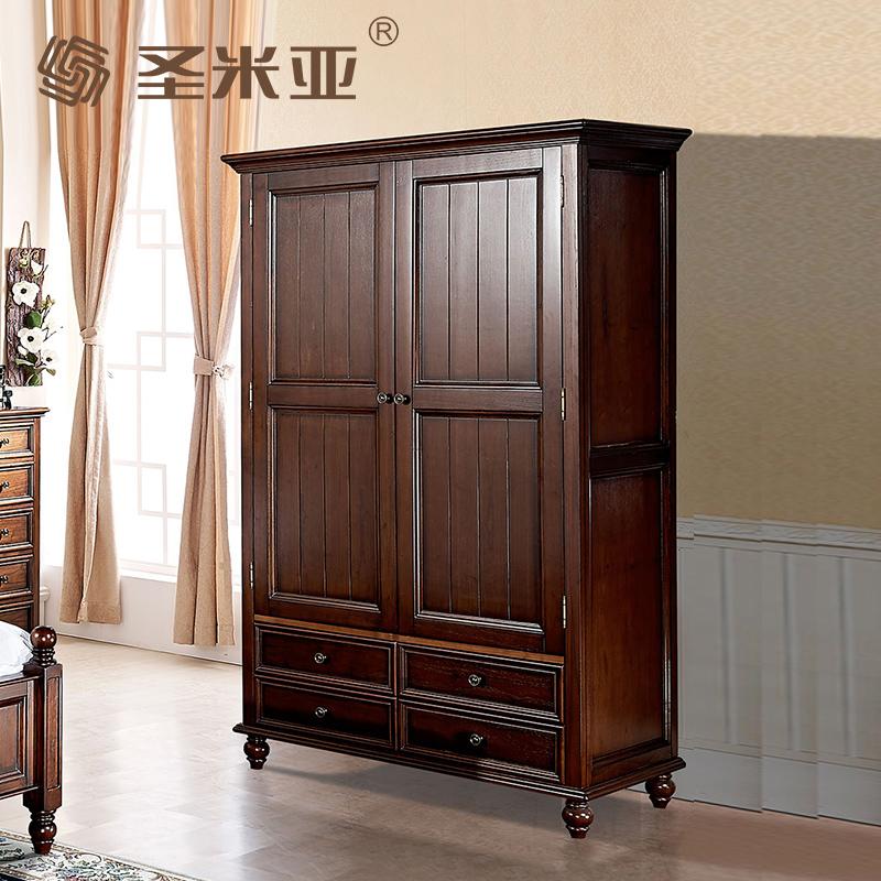 美式乡村实木衣柜2门 整体卧室大衣柜