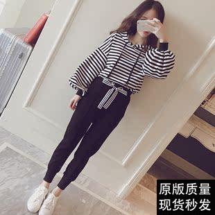2017新款女装夏秋季韩版时尚运动休闲学生长袖卫衣套装两件套潮