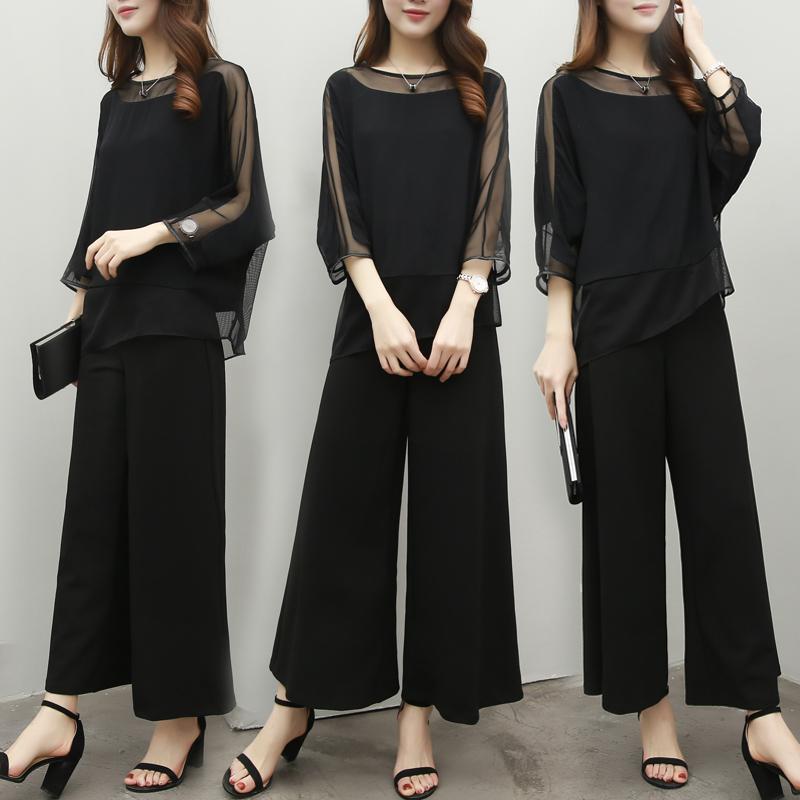 女装套装名媛气质时尚两件套上衣阔腿裤雪纺春夏韩版