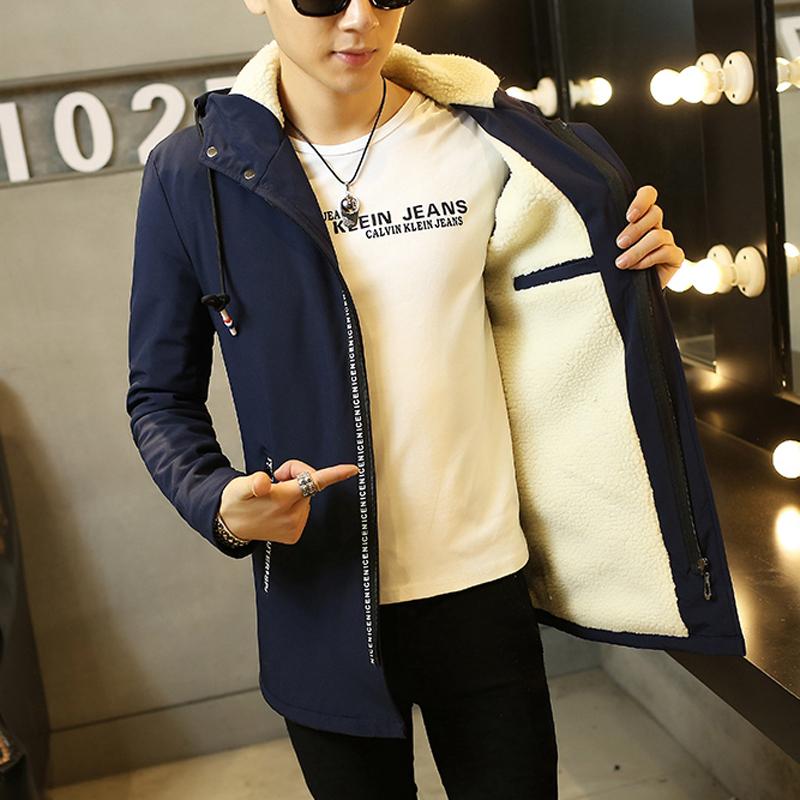 秋季韩版男生加厚加绒夹克潮衣服青少年修身外套男中学生保暖外衣