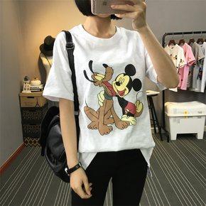 夏季新款韩版竹节棉短袖T恤女装宽松卡通印花学生上衣半袖打底衫