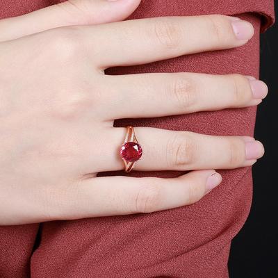 裸石2.75克拉 巴西天然红碧玺戒指18K玫瑰金红宝石戒指女彩色宝石
