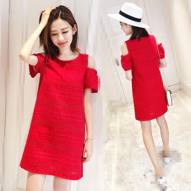 刺绣沙滩红色镂空短裙宽松连衣裙泰国度假海边裙子女夏潮