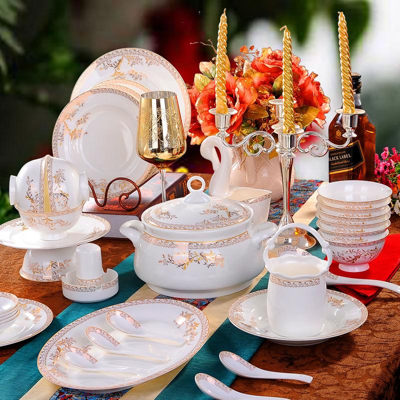 餐具套装28/56头骨瓷碗碟套装景德镇陶瓷器欧式碗具