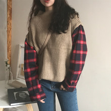秋冬女装韩版原宿风复古拼接格子长袖假两件半高领套头毛衣外套潮