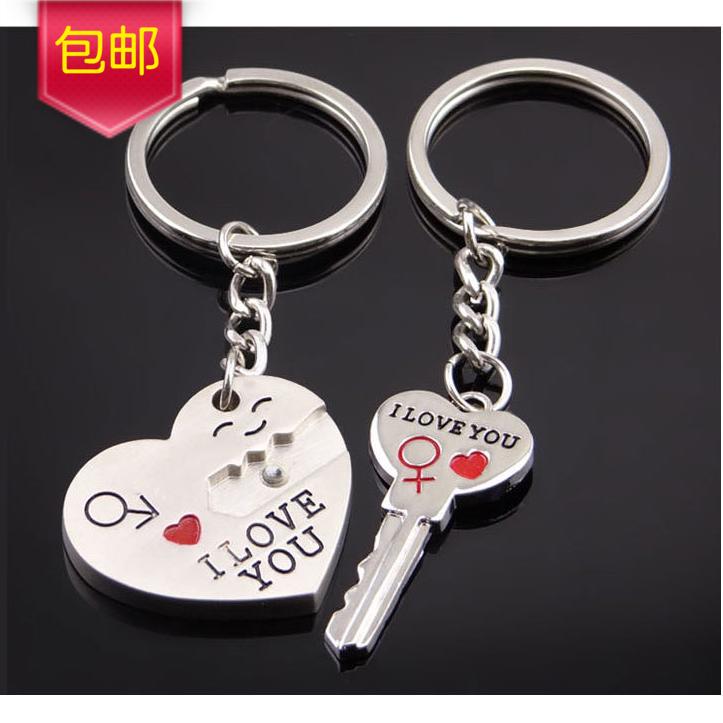 爆款创意钥匙链笑脸爱心锁一箭穿心金属情侣钥匙扣一对价包邮