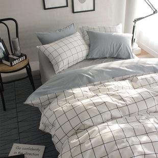 格子条纹纯棉床上四件套北欧宜家风格简约小清新全棉宿舍公寓被套