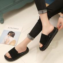 拖鞋女夏 平跟韩版学生百搭懒人家居时尚外穿厚底室外防滑一字拖