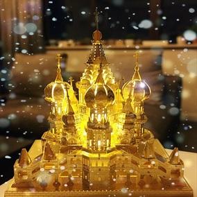 3D立体金属拼图模型瓦西里大教堂建筑模型创意diy手工拼装小房子