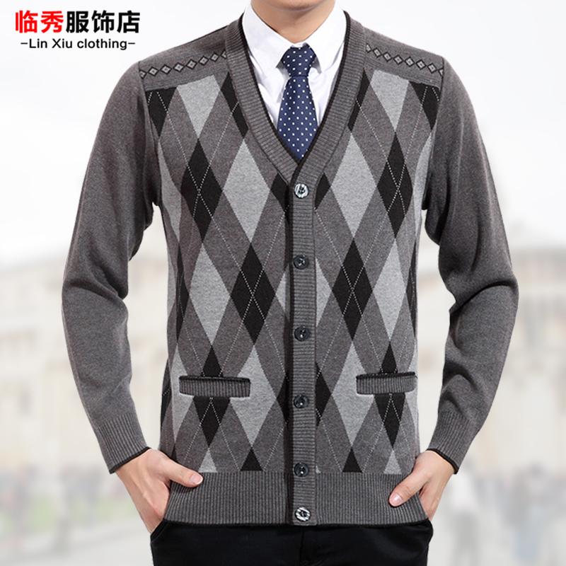 男士加厚父亲针织中年毛衣商务 冬装男装开衫外套老年人