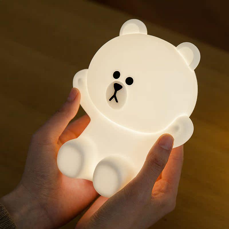布朗熊小夜灯卡通硅胶床头灯卧室起夜灯充电 FRIENDS LINE 韩国采购