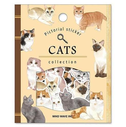 日式 猫咪海洋森林动物手帐日记纸质 图鉴贴纸包手账装饰贴 30枚