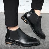 英伦潮流男靴 青年中帮切尔西皮靴厚底韩版 真皮尖头发型师皮鞋 男士