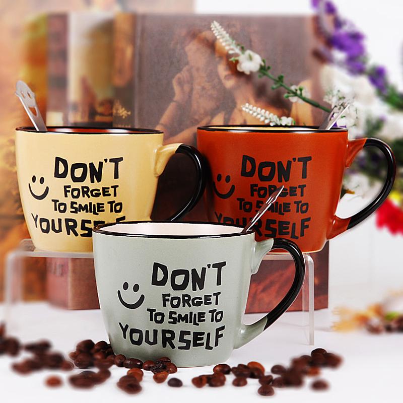 正品打折创意手绘陶瓷马克杯简约办公牛奶咖啡杯带勺欧式大容量复古水杯子 原价29.60元 现价14.80元包邮抢购专卖店品牌专卖