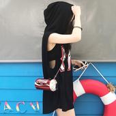 夏季新款宽松显瘦中长款印花无袖连帽卫衣女学生韩版套头背心上衣
