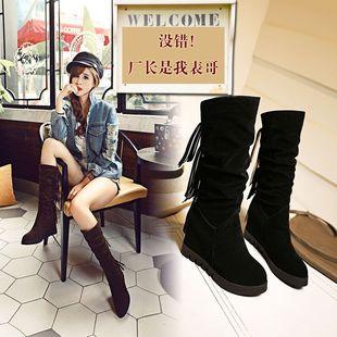 2017新款百搭春秋冬季韩版内增高长靴坡跟高筒女靴子单靴高跟鞋潮