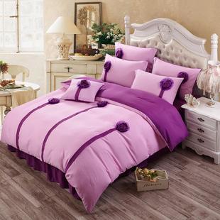 纯色韩版立体花朵床裙床罩春夏四件套婚庆家纺床上用品特价包邮