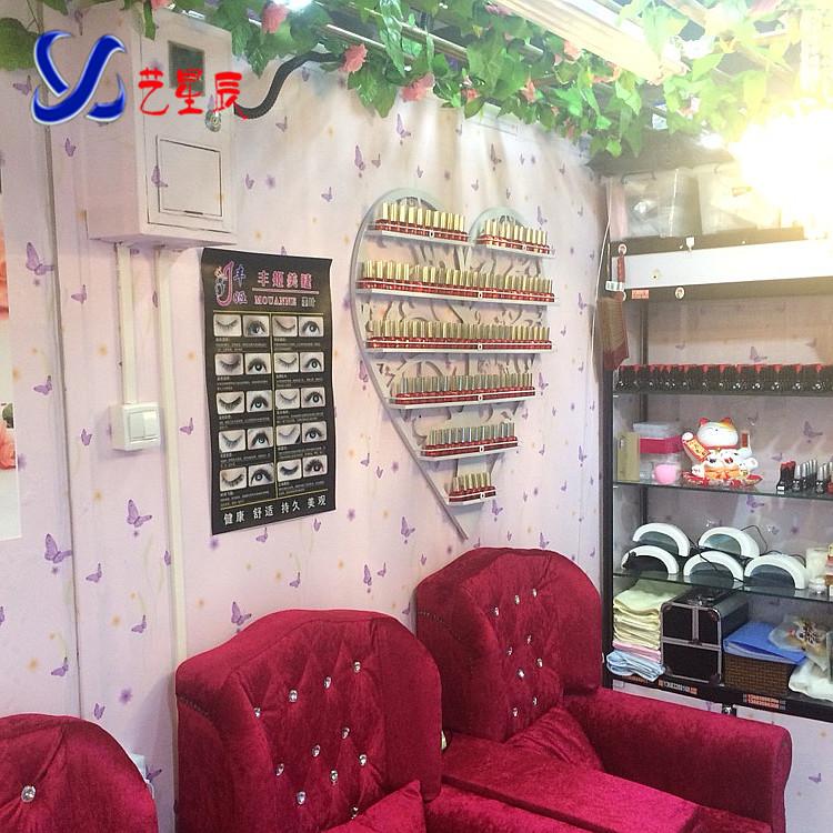 欧式铁艺指甲油架子美甲店化妆品壁挂展示架心形陈列