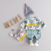 女童春装套装2017新款女宝宝春装套装韩版婴儿套装兔子休闲两件套