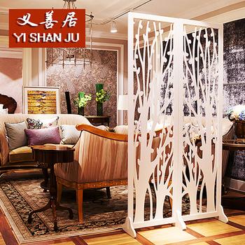 屏风隔断时尚欧式白色雕花客厅卧
