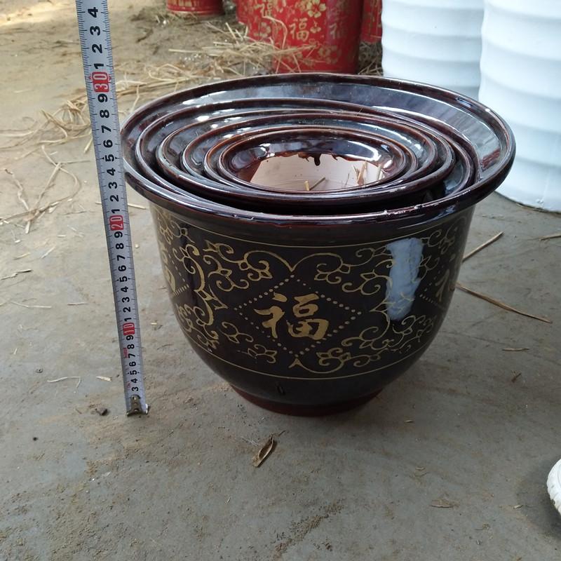 紫砂陶瓷大号超大花盆中国风陶瓷特大号30cm外口径陶瓷花盆包邮
