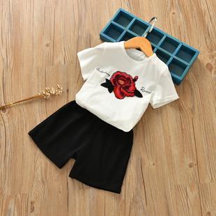 女童玫瑰花短袖t恤短裤套装2017夏装中小童韩版休闲绣花两件套装