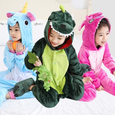 动物儿童卡通连体睡衣男女孩童宝宝小孩恐龙亲子装加厚法兰绒秋冬