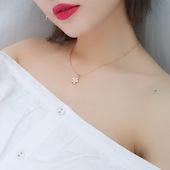 樱花项链简约美搭锁骨链女日系粉色花瓣颈链脖子饰品颈带绑带项圈