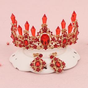 新娘皇冠巴洛克头饰宫廷婚礼礼服红色皇冠红色王冠影楼 拍照发饰