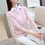 2017春秋新款韩版套头毛衣女宽松长袖衬衫领假两件打底针织衫上衣