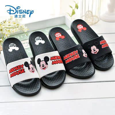 迪士尼夏季米奇拖鞋成人情侣大童防滑卡通一家三口亲子儿童凉拖鞋