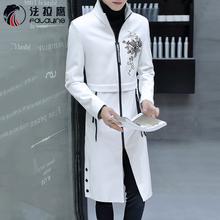 风衣男长款韩版秋冬青年修身帅气潮流男装超长过膝大衣男PU皮外套